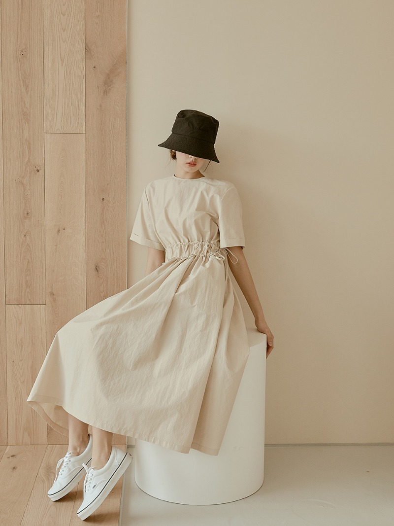 Daily Shirring Long Dress [Beige]